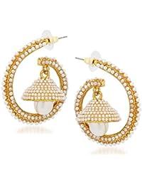 Amaal Jewellery Gold Plated Pearl Jhumka Earring Ear Rings For Girls Women Earring Necklace Jewellery Jhumki-J0134