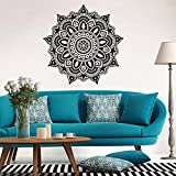 "Mandala Flower Indian Boho Style Wall Stickers - Indexp Removable Vinyl Art Home Room Decors Decals(22.4"" x 22.4"") (Black)"