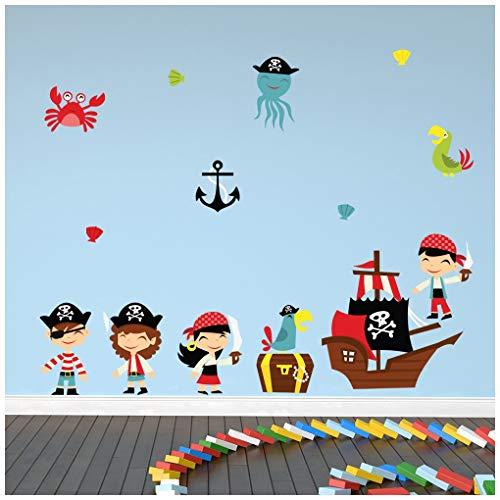 rat Wandtattoo Set Piratenschiff Wand Sticker Kinder Schlafzimmer Haus Dekor Erhältlich in 8 Größen XX-Groß Digital ()