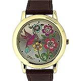 SPIRIT Damen Freizeit-Armbanduhr mit Blumendesign, goldfarbener Lünette und braunem PU-Armband ASPL44