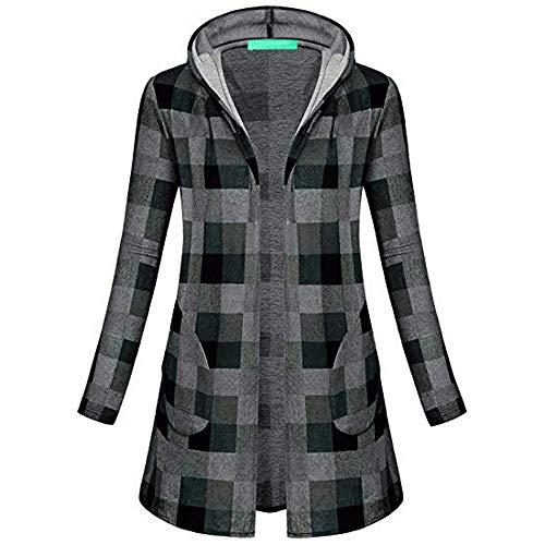 i-uend 2019 Damen Mantel, Hoodie Sweatshirt Pullover Karierter Mantel mit Kapuzenpulli Top Hoodies Jacke Overcoat