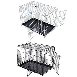Songmics 2 Portes Cage Pour Chien - Pliable et Transportable - avec Poignée et Plateau