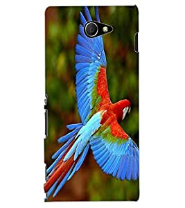 ColourCraft Beautiful Parrot Design Back Case Cover for SONY XPERIA M2 DUAL D2302