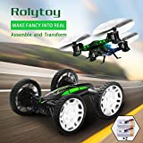 Air-Ground RC Quadcopter Car 6-Axis Gyro Drone, DNYCF DIY 2 in 1 Remote Control Off-road Drone with HD Live Camera 360°Flip Flying Car with 2 Rechargeable Batteries