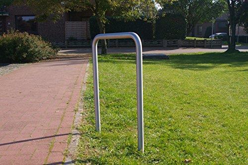 1 Edelstahlanlehnbügel, 500mm breit, aus Rundrohr Ø33,7mm Fahrradparker, Fahrradanlehnbügel, Anlehnbügel Edelstahl, zum Einbetonieren, K240 geschliffen -