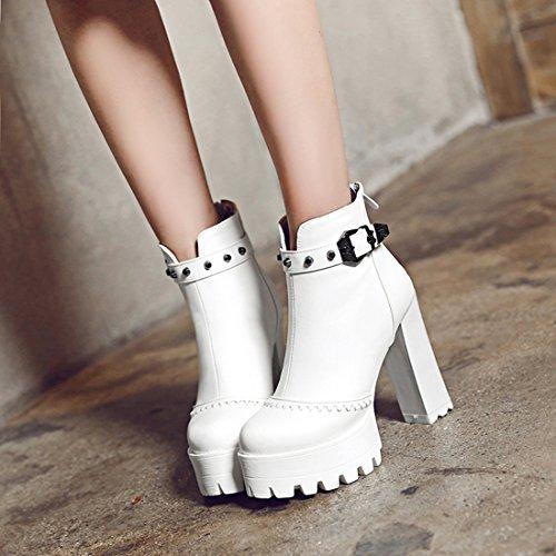 YE Damen Blockabsatz Hihg Heels Plateau Stiefeletten mit Nieten und Schnallen Reißverschluss Hinten 12cm Absatz Ankle Boots Weiß