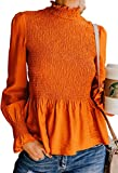 ECOWISH Damen Herbst Rollkragen Langarmshirt Rüschen Pagodenärmel Einfarbig Shirt Bluse Oberteile Top Orange S