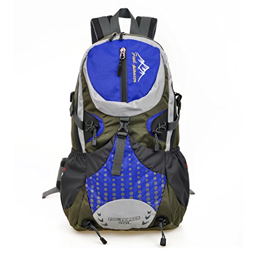 sfeibo 30L nylon impermeabile scuola studenti Zaini moda dot stampato tattico campeggio arrampicata, escursionismo zaino borse da viaggio per laptop da 15,6pollici, Donna uomo, DarkBlue Blue