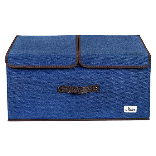 LXOICE Linen Fabric Foldable Cloth Storage Boxes with Lid, Handles, Removable Divider (Navy Blue)