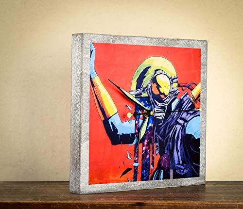 nderzimmer Graffiti Alien Weltraum Uhr Quadrat Foto auf Holz Geschenk ()