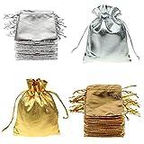 FineInno 100 Pièces Sachet Bonbon Pochette Bijoux Sac Noel Cadeau Sac de Cordon Drawstring Pouches Gift Bags Fête D'anniversaire Sacs Bijoux Party Faveur Pochette en Tissu (petit 7x9cm)