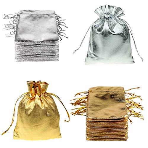FineInno 100 Stück Weihnachtstüten Schmuckbeutel Drawstring BagsGeschenktüten Gold und Silber Säckchen Süßigkeiten,Schmuck,Party Wedding Favor,Halloween Taschen 9x12cm -