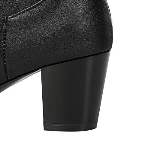 YE Damen High Heels Overknees Stretch Leder Stiefel mit Blockabsatz Wasserdichte Winterschuhe Schwarz Schwarz