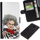 Supergiant (Piano Player Keys Mozart Classical Caricature) Dibujo PU billetera de cuero Funda Case Caso de la piel de la bolsa protectora Para Samsung Galaxy Note 4 IV / SM-N910