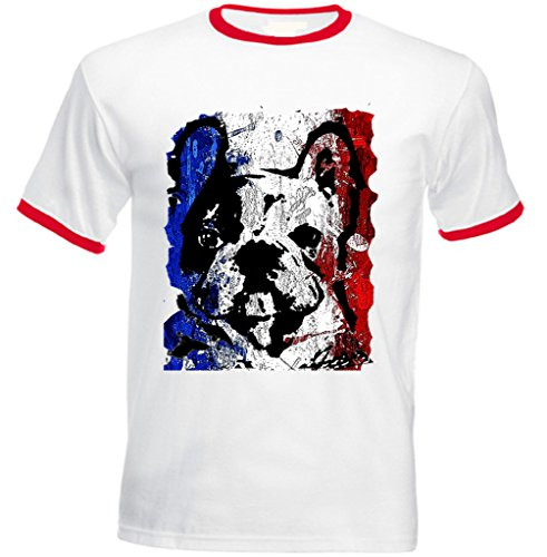 Teesquare1st Men's FRENCH BULLDOG FRENCH FLAG 1 Red Ringer T-shirt Size Medium