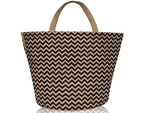 Modische Einkaufstaschen (SG Produkte I Umweltfreundliche Einkaufstasche aus 100% Jute I Modische Strandtasche I Jutetasche (schwarz))