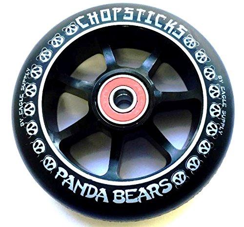 Chopstick Panda Bears Alloy Core 100mm 88A Wheel + Abec 9 Lager Black / Pu Black (Eagle Wheels Scooter)
