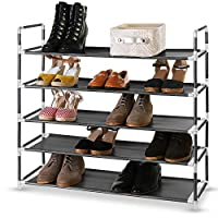 EVELYN LIVING 5 Tier Shoe Rack Organizer Heavy Duty Standing Storage for 25 Pairs of Shoes, Quick Assembly No Tools Required 86.5 x 28 x 81 cm (L x W x H) 1 YEAR WARRANTY
