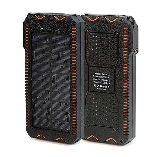 20000mAh Portable Solar Power Bank Dual USB Port Ladegerät Akku mit LED-Licht für iPhone, iPad, iPod, Samsung, Android-Handys, USB-Ladegerät und mehr,Orange