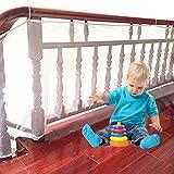 Pueri 3 mètre Filet de Protection Balcon pour Bébé et Enfant, Filet de Sécurité pour Balcon et Escalier, Solide et robuste 10ft * 3ft (Blanc)