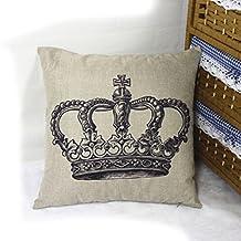 HuntGold 1X Home Sofá decorativa Throw Pillow Cojín caso de la cubierta de lino de algodón(Gran Corona?