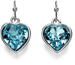 Fiorelli Costume Collection for Ladies Blue Crystal Heart Earrings of Length 2cm