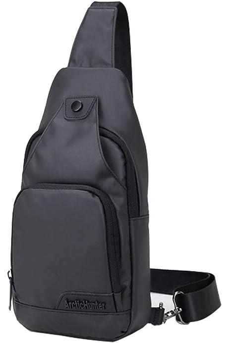 LegendGloo Bolso hombre pecho mochila negra cruzada bolsa bandolera pequeña espaciosa senderismo ciclismo impermeable resistente 100% Nylon