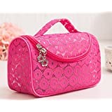 Rose Red : HOYOFO Lace Toiletry Organizer Travel Makeup Cosmetic Bag With Brush Holders,Rose Red