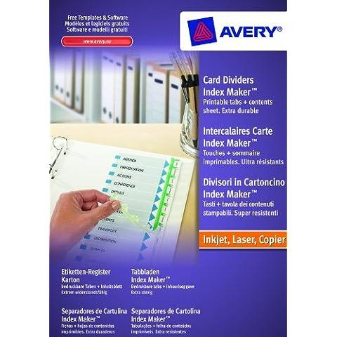 Avery 1998061 IndexMaker - Juego de separadores perforados personalizables (cartulina, compuesto por resumen y toques personalizables, A4+, para impresión de inyección de tinta y láser), color blanco (A4, impresión de inyección de tinta), color blanco