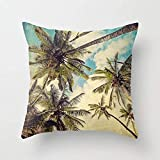 TEPEED Pillow Vintage Blue Hawaii Palm Trees Throw Pillow by Melanie Alendrafor Your Home 18 X 18 Inch