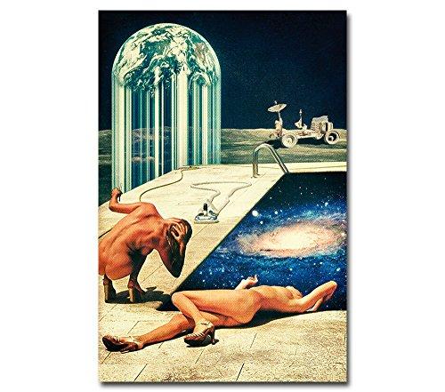 Poster Erotik im Weltraum --- Moon Pool --- Akt Mond Universum Retro Illustration