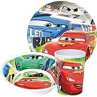 Cars - Servizio di piatti per bambini con: piatto, ciotola per colazione e bicchiere, in melamina