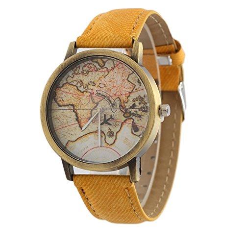 Orologio Vintage Mappa Canvas cinturino in pelle Aircraft orologio al quarzo , yellow