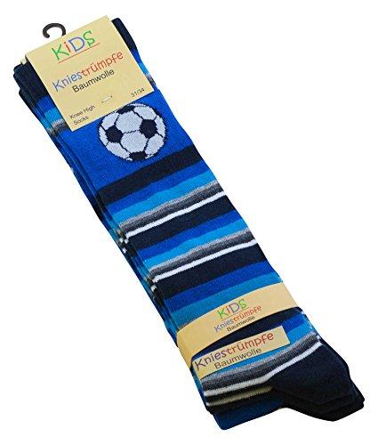 3 Paar Kinder Kniestrümpfe mit Fußball Motiven, Baumwolle (ÖKO-Tex Standard 100 zertifiziert) (Kinder-kniestrümpfe)