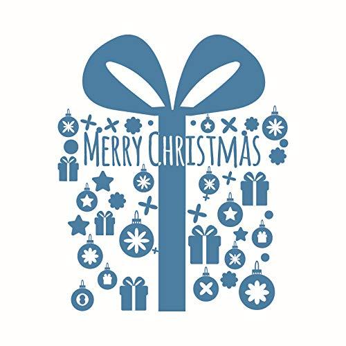 Weihnachten Wandaufkleber Schaufenster Aufkleber Weihnachtsschmuck Grüne Wandaufkleber Kreative Einfachheit Blau 56 * 68 Cm (Ecke Weihnachten Baum)