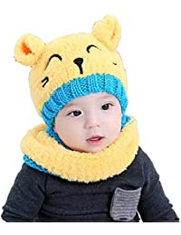 Tuopuda® Chapeau Bonnet Enfant Hiver Bébé fille garçon Ensemble Bonnet  Echarpe Chaudes Bonnet tricoté cbeb8da5426