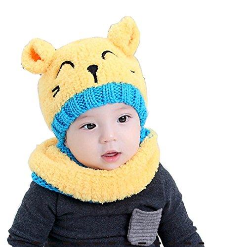 Tuopuda® Babymütze Winter Warm Hut Schal Baby Kleinkind Kind Jungen Mädchen Strickte Mütze mit Schal (gelber Hut und Schal)