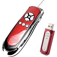 Duronic SP400 Smart-Pointer (Red/Chrome) - telecomando wireless per presentazioni con puntatore laser 2.4 Ghz con funzione mouse. Custodia inclusa.