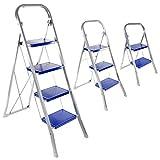 Klapptritt / Haushaltsleiter 2-, 3- oder 4-stufig aus Stahl in Silbergrau / Blau (4-Stufig)