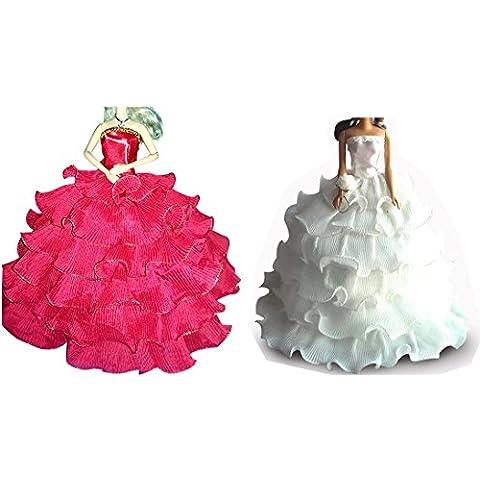 OurKosmos® 2 set di 6 strati di moda sposa principessa partito dei vestiti abito regolato l'attrezzatura per Barbie