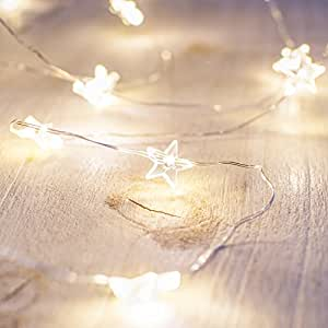 Battery operated star fairy lights with 40 micro warm for Lichterkette tumblr
