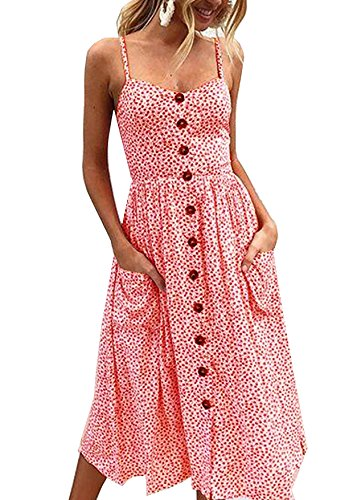 Ehpow Sommerkleid Damen V Ausschnitt Trägerkleid Spaghetti Buegel Blumen Sommerkleid (Large, Rosa) - Sommer-spaghetti-bügel-kleid