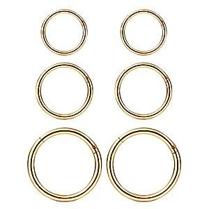6 Stück 16 Gauge Edelstahl Nasenring Hoop Nahtlos Clicker Ring Ohr Lippen Piercing Schmuck, 3 Größen (Rosa Gold)