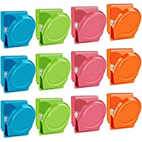 Magnetic Clips, 12 Pieces Magnetic Metal Clips, Refrigerator Whiteboard Wall Fridge Magnetic Memo Note Clips Magnets Metal Clip-Multiclolor