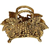 Handicrafts Paradise Antique Fruits Pattern Aluminium Metal Napkin Holder (15.3 Cm X 5.1 Cm X 11.5 Cm),Golden