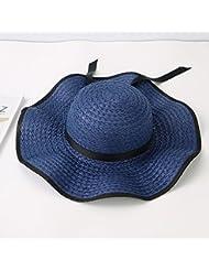 OME&QIUMEI Playa Sombrero De Ala Grande, Sombrero De Paja, Verano Sombrilla Tapa Plegable, Seaside Hat,Tibet Marina