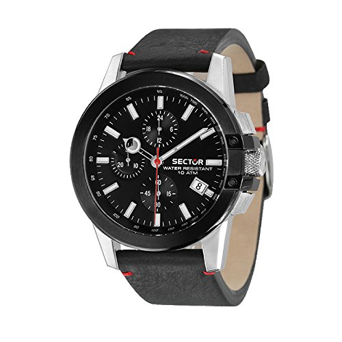 SECTOR Herren Chronograph Quarz Uhr mit Leder Armband R3271797004 (Uhren Sector)