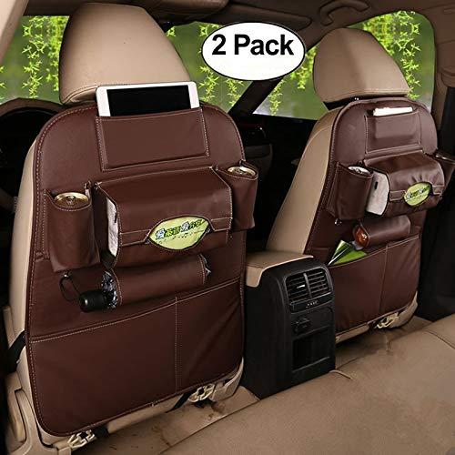 HCMAX 2 Pack Auto-Rückenlehnenschutz Autositz zurück Veranstalter Tasche Rücksitz Schutzaufbewahrung Trittmatte Ipad Mini Halter Großes Reisezubehör -