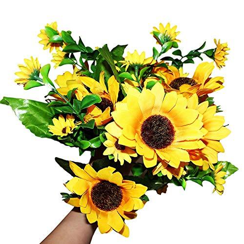 """BELLE VOUS Künstliche Blumen (2Stck) - 4 x Groß Blütenköpfe (10cm/3,93\"""") / 9 x Klein Blütenköpfe (4cm/1,57\"""") mit Blättern - Künstlicher Sonnenblumen Blumengestecke für Vase, Hochzeit, Wohnkultur"""