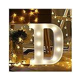 sunnymi Alphabet LED Brief Lichter leuchten weiße Kunststoff Buchstaben Stehen Hängen A bis Z & Wortkombination Home Garten Hotel Geschäft Dekor (D, 22 * 18cm*4.5cm)